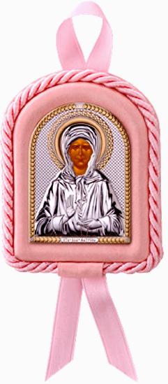 Икона Святая Матрона в колыбельку новорожденному ребенку (Италия, повышенное качество!) купить в подарочной упаковке!
